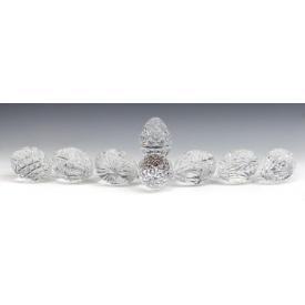 (8) WATERFORD ART CRYSTAL EGG FORM PAPERWEIGHTS
