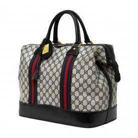 GUCCI NAVY BLUE MONOGRAM COATED CANVAS TRAVEL BAG