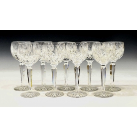 (9) WATERFORD CUT CRYSTAL 'LISMORE' WINE GOBLETS