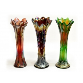 (3) VINTAGE IRIDESCENT CARNIVAL TREE TRUNK VASES
