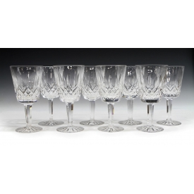 (8) WATERFORD CUT CRYSTAL 'LISMORE' WATER GOBLETS