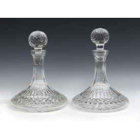 (2) WATERFORD CUT CRYSTAL LISMORE SHIPS DECANTERS