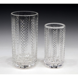 (2) WATERFORD CUT CRYSTAL UPRIGHT BAND TABLE VASES