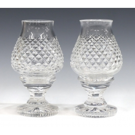 (2) WATERFORD CUT CRYSTAL ALANA HURRICANE LAMPS