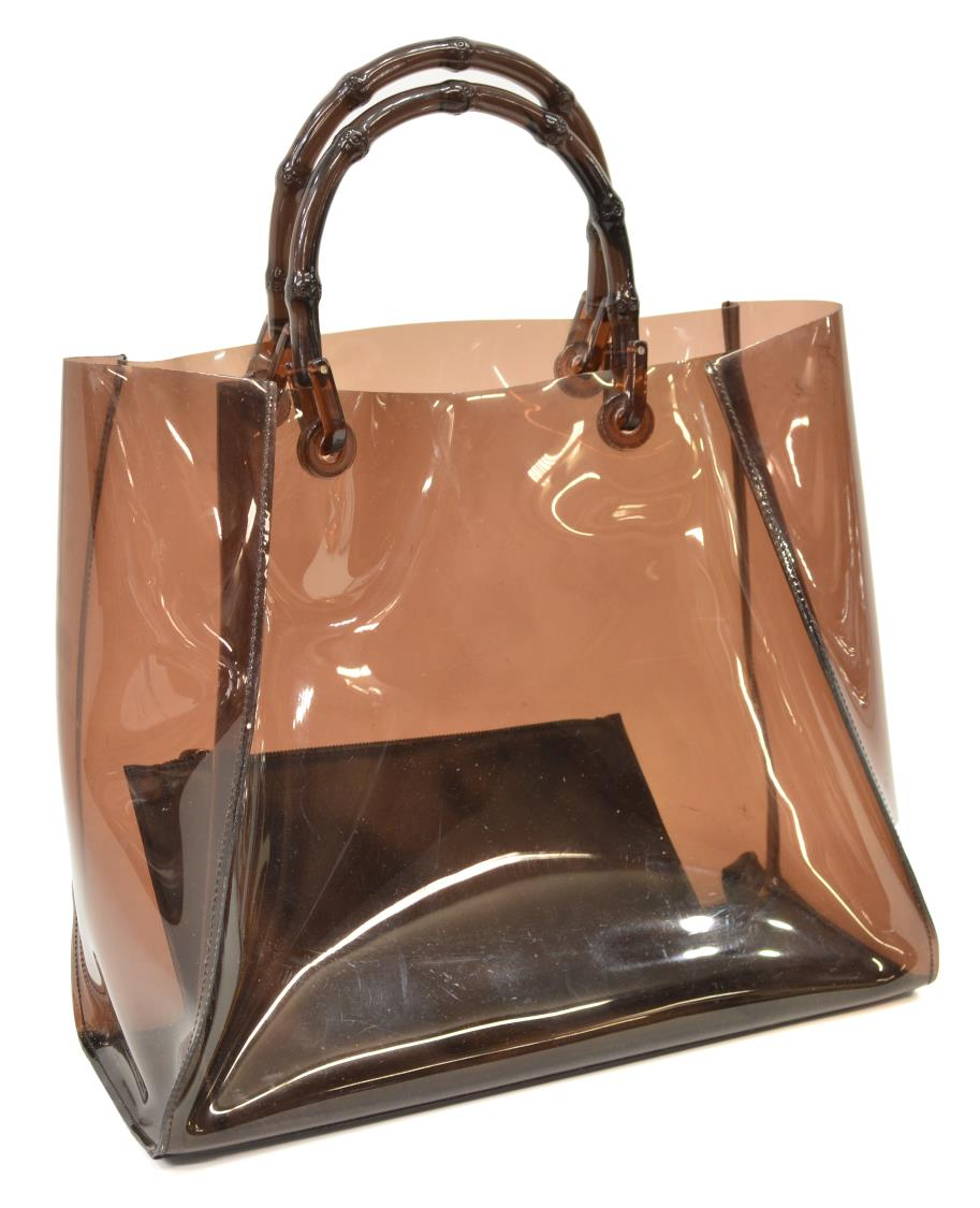 GUCCI BROWN PLASTIC BAMBOO HANDLED TOTE BAG SPECIAL