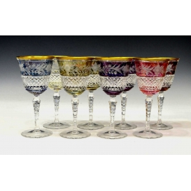 (8) CONTINENTAL FLORAL CUT TO CLEAR STEMWARE