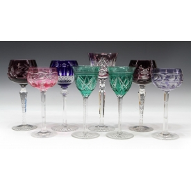 (8) COLLECTION OF COLORED CUT TO CLEAR STEMWARE