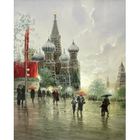 G. HARVEY (TEXAS, B. 1933) SCARCE PRINT RED SQUARE