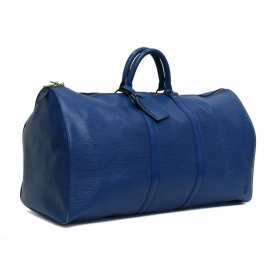 LOUIS VUITTON KEEPALL 55 BLUE EPI LEATHER DUFFLE