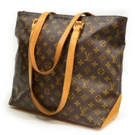 LOUIS VUITTON CABAS MEZZO & LEATHER SHOULDER BAG
