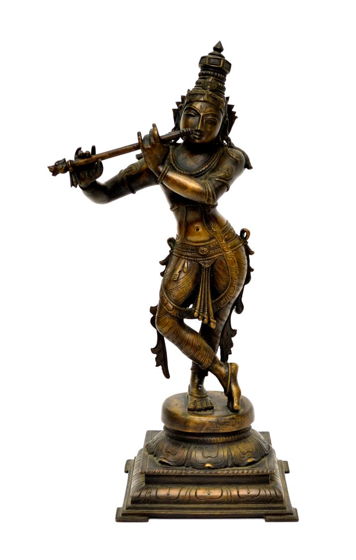 FINE BRONZE STATUE OF KRISHNA WITH FLUTE, INDIA - SPECIAL ...