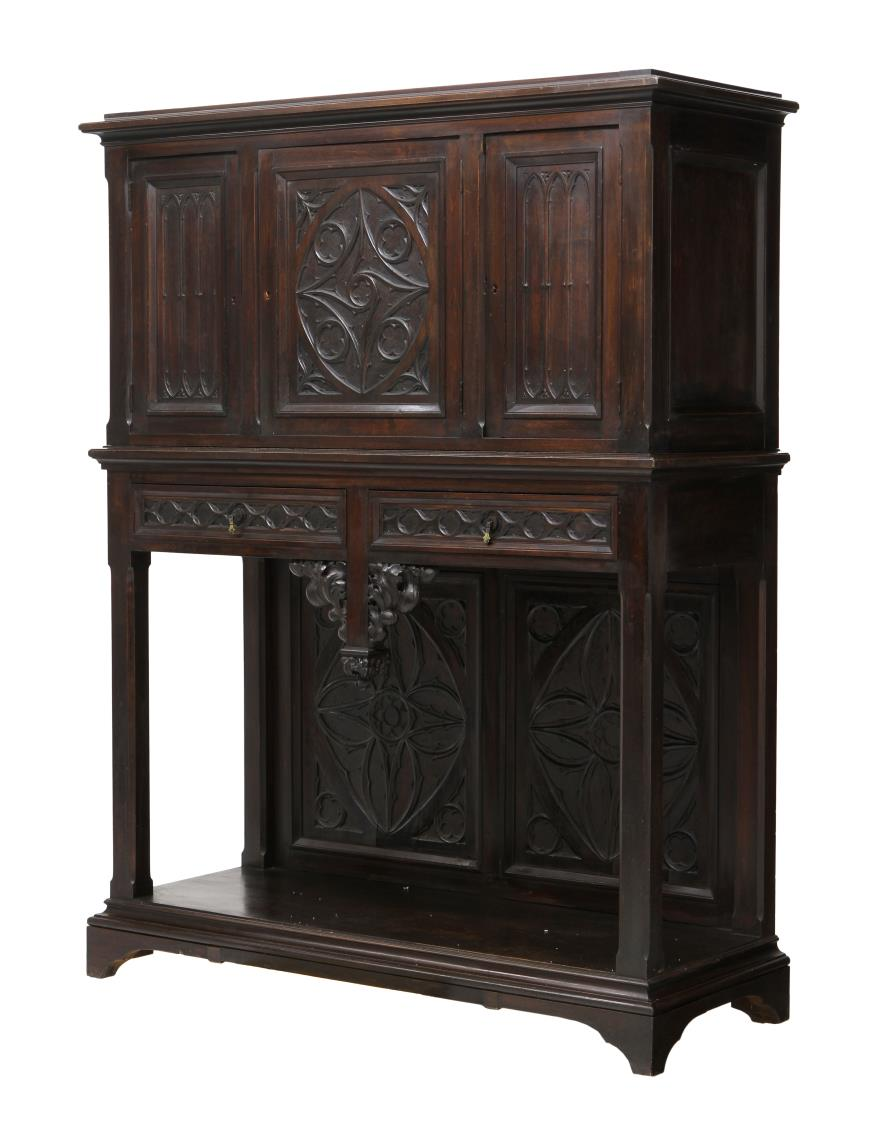 french gothic style display sideboard special italian mid century design antiques estates. Black Bedroom Furniture Sets. Home Design Ideas