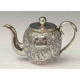 SCARCE GEM WO 19TH C CHINESE EXPORT SILVER TEAPOT