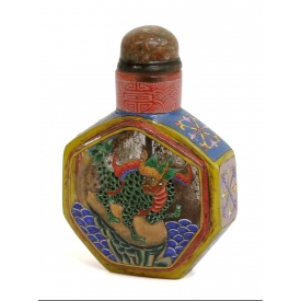 CHINESE ENAMELED GLASS SNUFF BOTTLE, 19TH / 20TH C