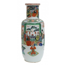 CHINESE FAMILLE ROSE PORCELAIN VASE, LATE 19TH C