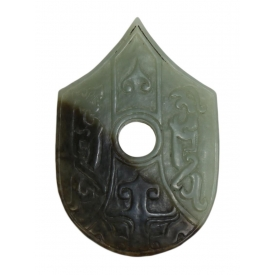 CHINESE JADEITE RELIEF CARVED & INCISED PENDANT