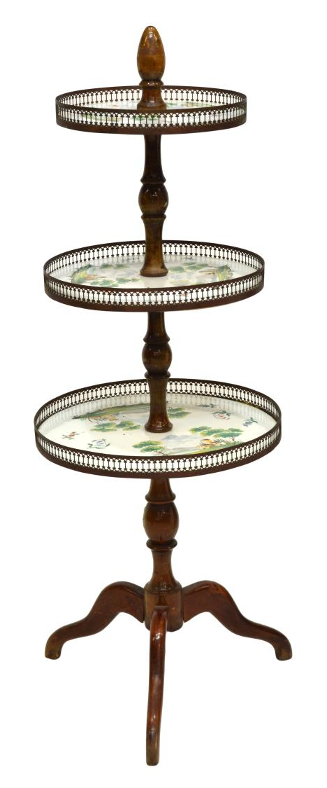 FRENCH TIERED PAINTED CERAMIC & WOOD CAKE STAND - JUNE MID-CENTURY ...