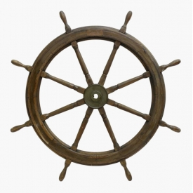 LARGE WOOD & BRASS SHIPS WHEEL
