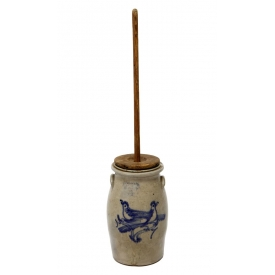 OTTMAN BROS & CO. STONEWARE BIRD BUTTER CHURN