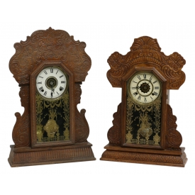 (2) AMERICAN GINGERBREAD KITCHEN CLOCKS, ALARMS