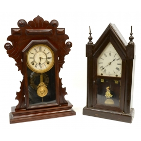 (2) NEW HAVEN STEEPLE CLOCK, WATERBURY SHELF CLOCK