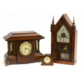 (3) COLLECTION OF ANTIQUE MANTLE & STEEPLE CLOCKS