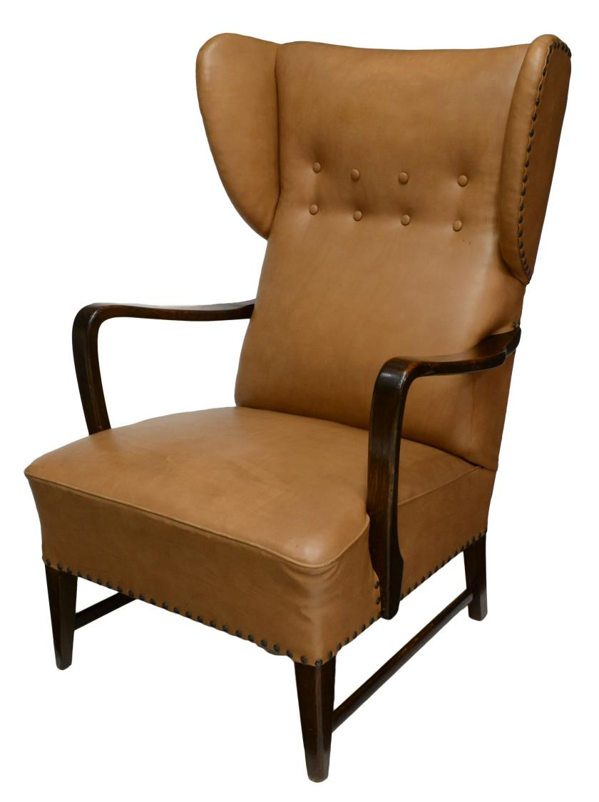 Danish mid century modern upholstered wing chair june for Mid century modern upholstered chair