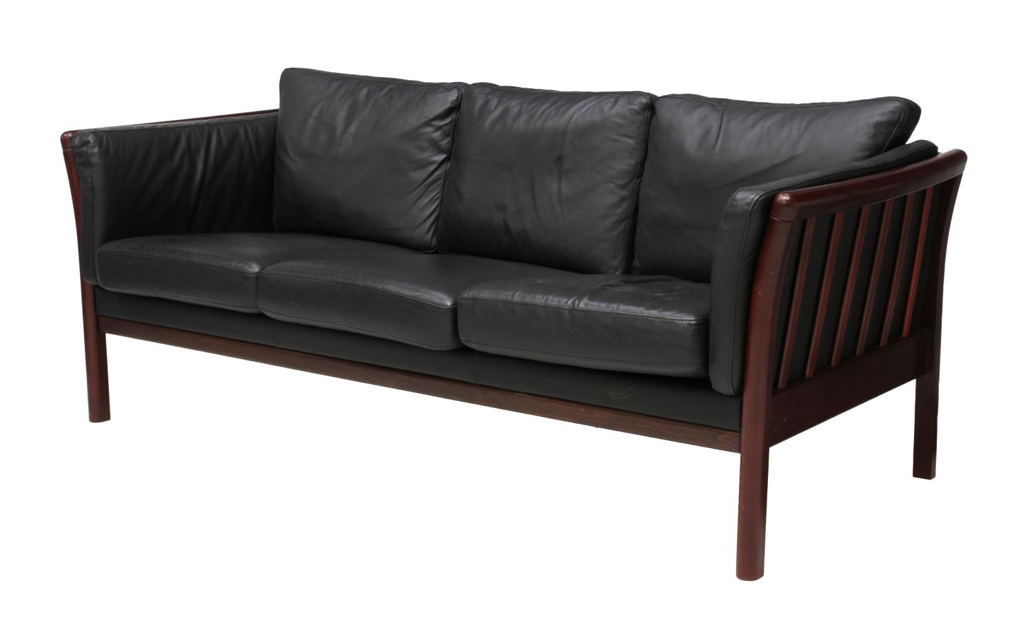 danish mid century modern black leather sofa june mid century design