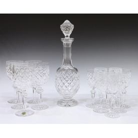 (14) WATERFORD POWERSCORT DECANTER & GOBLETS