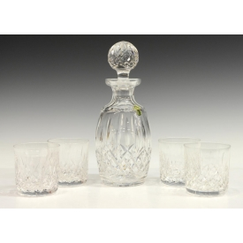 (5) WATERFORD CRYSTAL LISMORE DECANTER & GLASSES