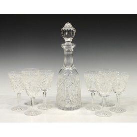 (9) WATERFORD CRYSTAL CLARE DECANTER & GOBLETS