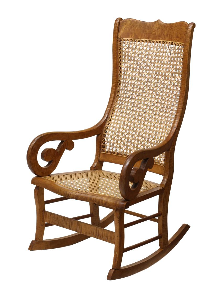NEW ENGLAND MAPLE & CANE ROCKING CHAIR - JULY MID-CENTURY DESIGN ...