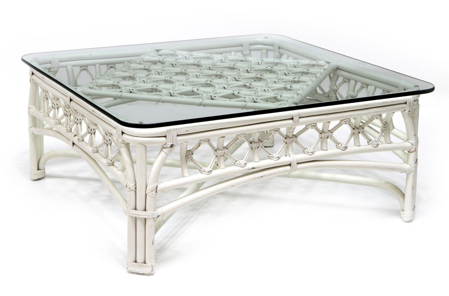 Bamboo Framed Glass Top Coffee Table July Mid Century Design Antiques Estates Auction