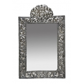 PEREDA REPOUSSE 900 SILVER FLORAL WALL MIRROR