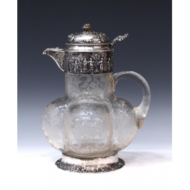 GERMAN SILVER-MOUNTED FLORAL ETCHED CLARET JUG