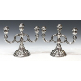 (2) FINE STERLING SILVER THREE-LIGHT CANDELABRAS