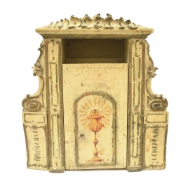 ANTIQUE RELIGIOUS PARCEL GILT PAINTED TABERNACLE