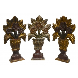 (3) COLONIAL STYLE PARCEL GILT  ALTAR DECORATIONS
