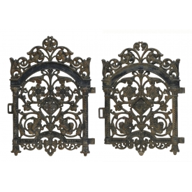 (2) ARCHITECTURAL PIERCED BLACK IRON DOOR PANELS