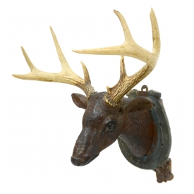 FOLK ART CARVED DEER HEAD WITH ACTUAL ANTLERS