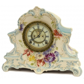 ANSONIA LA NORD ROYAL BONN PORCELAIN MANTLE CLOCK