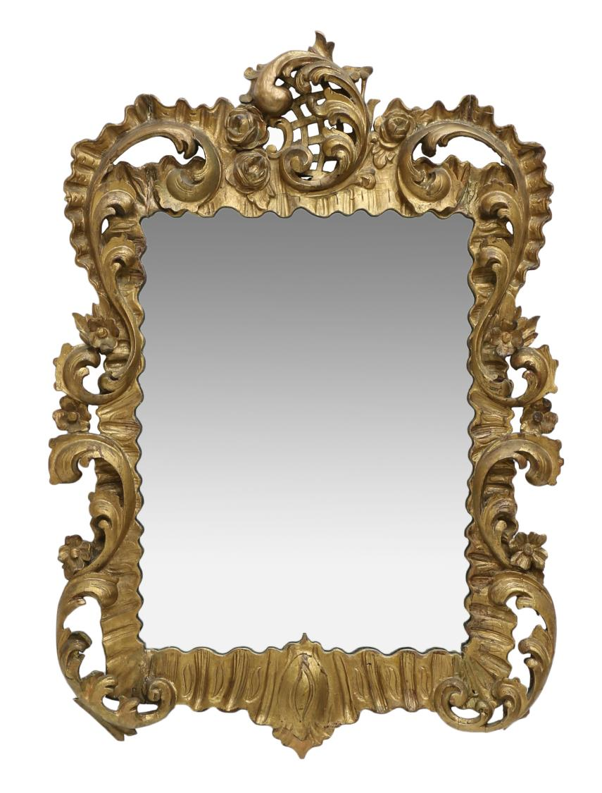 Spanish baroque style giltwood wall mirror 19th c for Baroque style wall mirror