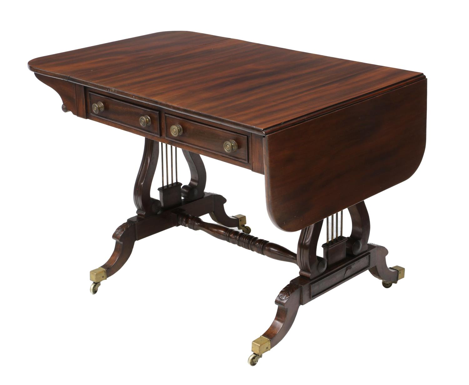 REGENCY MAHOGANY LYRE SUPPORTED DROP LEAF TABLE The  : 100 from www.austinauction.com size 1500 x 1233 jpeg 94kB