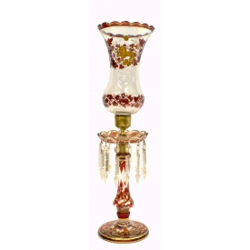 FINE RUBY FLASHED PARCEL GILT HURRICANE LAMP