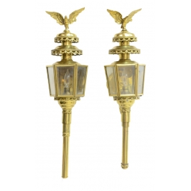 (2) LARGE EAGLE BRASS & GLASS CARRIAGE LAMPS