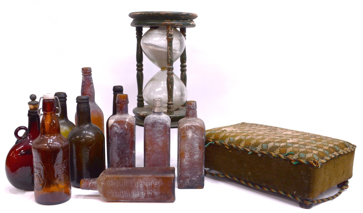 Decorative Lot Stool Antique Bottles Hourglass The