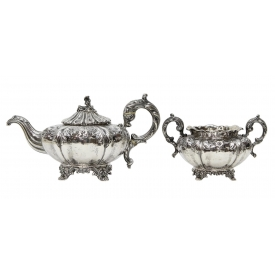 (2) LONDON REPOUSSE STERLING SILVER COFFEE & SUGAR