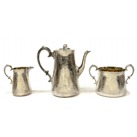 (3) LONDON PARCEL GILT STERLING COFFEE SERVICE