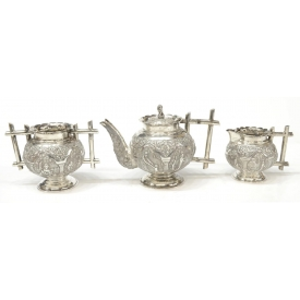 (3) ORNATE INDIA REPOUSSE SILVER COFFEE SERVICE