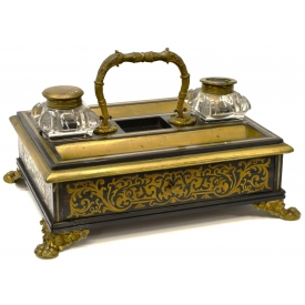 CONTINENTAL BOULLE STYLE METAL INLAID INKSTAND